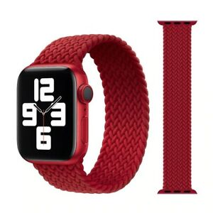 Nylon Braided Solo Loop Strap for Apple Watch Series 7 6 SE 5 4 3 44/40/38/42 mm