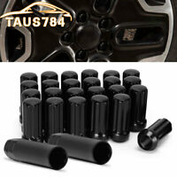 24PC For CHEVROLET 2500 3500 14x1.5 BLACK SPLINE LOCKING LUG NUTS ACORN + 2 KEYS