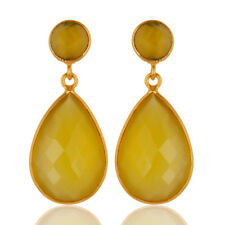 14K Gold Plated Handmade Faceted Dyed Chalcedony Bezel Set Drop Earrings Jewelry