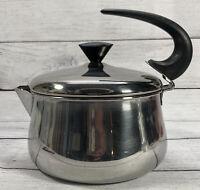 Vintage Farberware Teapot Tea Kettle Stove Top Stainless Steel 1960's USA Retro