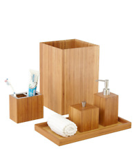 Seville Classics 5-Piece Bamboo Bath And Vanity Accessory Set