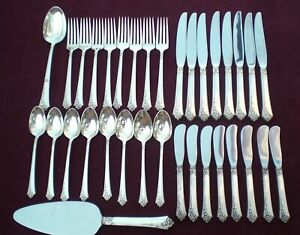 Oneida DAMASK ROSE Heirloom Sterling Silver Flatware Set  (Service for 8)