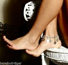 Silver Turkish Coin Anklet Ankle Bracelet Gypsy Bare Feet Antique Effect