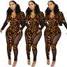 NEW Stylish Women's Long Sleeves Leopard Print Zipper Bodycon Club Long Jumpsuit