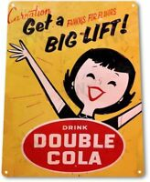 Double Cola Pop Cola Soda Store Ad Advertising Retro Wall Decor Large Metal Sign