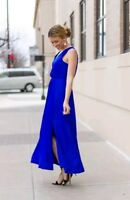 Banana Republic Goddess Maxi Vee Dress Sleeveless Cobalt Royal Blue Size 6