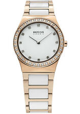 Bering Womens 32430-761 Ceramic White Dial Rose Gold Stainless Steel Band Watch