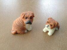 """LOT OF 2 RESIN SHAR PEI PUPPY & PARENT MINIATURE DOG FIGURINE"""