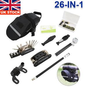 Bike Repair Multi-tool Kit 26 in 1 Bicycle Mountain Cycle Puncture Tyre Pump Bag