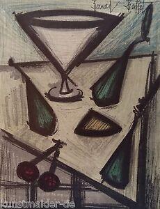 BUFFET Bernard (1928-1999) Original Lithographie 1967 : Stilleben mit Früchten
