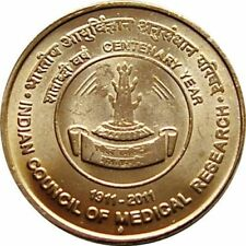 India-republic-5-rupees-2011 Indian Council of Medical Research Centenary year.