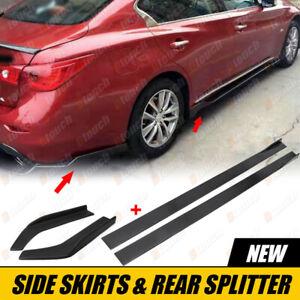 For Chevrolet Malibu Gloss Side Skirt Extension + Gloss Rear Canard Splitter