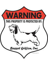 "Warning! Basset Griffon - Property Protected Aluminum Dog Sign - 7"" x 8"" (Badge)"