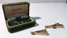 (2) Vintage Dante Genuine Jade Tie Bar Clasp Clip 14K Gold Overlay Pair in Box