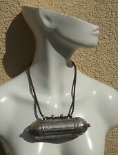 GROSSER  ZYLINDER antik jüdisch jemenitisch Silber Anhänger Behälter >1950