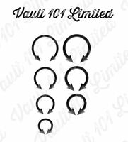 BLACK Horseshoe Bar, Lip Nose Septum Tragus Ear Ring Various Sizes WITH CONES