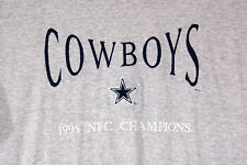 REDUCED $ VTG Gray Dallas Cowboys NFC Champions 1995 T Shirt Embroidered Large