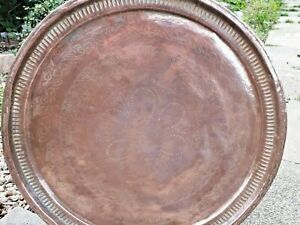 Large Solid Copper Islamic Plate Tray Charger Wall Hung 27 inch - 68.5 cms