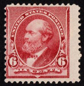 US Sc# 224 *UNUSED NG H* { 6c RED BROWN JAMES A GARFIELD } NICE BANKNOTE OF 1890