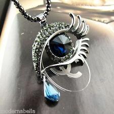 Occhio dell Angelo stupenda Collana cristallo Vero blu,protezione Horus