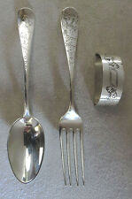 J.E. CALDWELL STERLING SILVER CHILD'S FORK, SPOON & NAPKIN HOLDER 3 PIECE SET