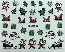 Nail Art 3D Glitter Decal Stickers Christmas Tree Santa Sleigh Presents BLE944D