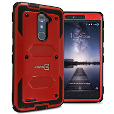 Protective Hybrid Hard Cover Case for ZTE ZMax Pro Phone Case - Red / Black