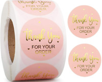 Thank You For Your Order Stickers Professional Business Labels Pink & Gold 25mm
