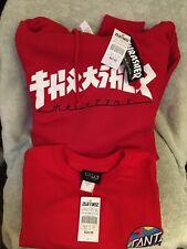Thrasher San Francisco Red Hoodie Pullover Skateboard +free Santa Cruz Tee Sz M
