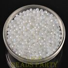 100pcs 4X3mm Crystal Glass Rondelle Faceted Loose Beads Opal White AB