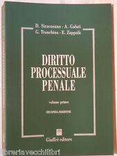 DIRITTO PROCESSUALE PENALE Vol I° D Siracusano A Galati G Tranchina E Zappala di