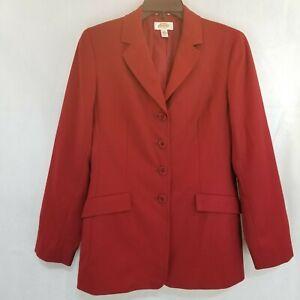 Talbots Womens Size 4 Wool Blazer Red 4 Button  Jacket Flap Pocket