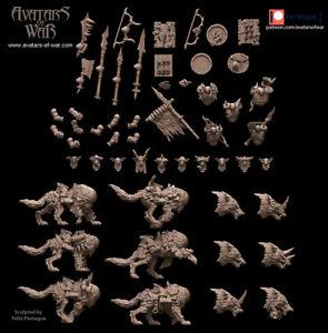 Avatars Of War 3D Printed miniature Kit 5 gobelins sur loup
