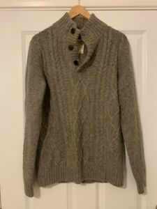 Great Fat Face, Mens, Thick Winter Knitted Jumper, Button Collar, Size Medium