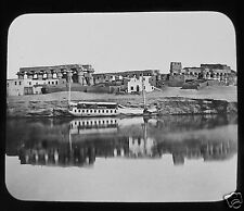 Glass Magic Lantern Slide TEMPLE OF LUXOR THEBES FROM THE NILE C1890 EGYPTIANS