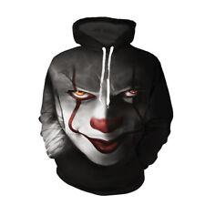 3D Print Sweatshirt Hoodie Stephen King It Pennywise Horror Clown Sportswear New
