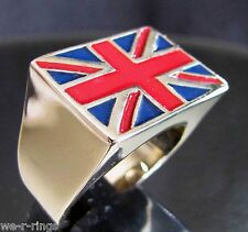 Polished BRONZE Union Jack Flag Ring PUNK ROCK  RG0131/B/E
