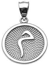 "14k White Gold Arabic Letter ""miim"" M Initial Charm Pendant"