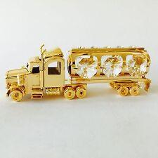 """SWAROVSKI CRYSTAL ELEMENTS """"Oil Tanker"""" FIGURINE - ORNAMENT 24KT GOLD PLATED"""