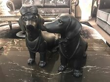Mr & Mrs. Dachshund Pair 300mm Sausage Dog Sculptures Statue Black Resin Antique