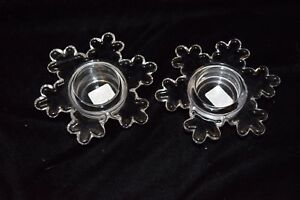 NEW Set of 2 Crate and Barrel Snowflake Crystal Tea Light Candle Holders Glass