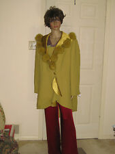 Midnight Velvet Sz 22W Green Polyester wi Rabbit Fur and Bead Trim Evening Coat