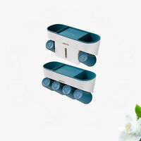 Wall-Mounted Toothbrush Holder with Cups Automatic Toothpaste Squeezer Disp N3A4