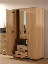 Pacific 3 Door 3 Drawer Combi Wardrobe Bedroom Furniture Range in Oak / Grey