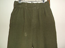 MENS~Vintage~GREEN Wool MILITARY Trousers~FIELD PANTS~Hunting~BUTTON FLY~32 x 28
