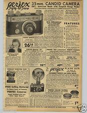1942 PAPER AD Perfex 35MM Candid Camera Flash Falcon Wollensak Lens Folding