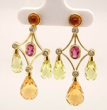 18Kt YELLOW GOLD  BEAUTIFUL EARRINGS  WITH CITRINE, TOURMALINE AND LEMONCITRINE