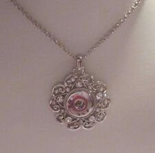 Silver Crystal Flower Button Snaps Necklace - Fits 18-20mm Ginger Brands