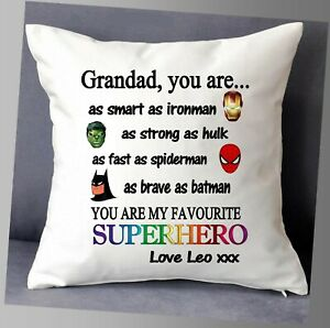 """LOVELY SUPERHERO PERSONALISED CUSHION COVER 16""""x16""""  FATHERS DAY BIRTHDAY GIFT"""