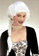Ladies Marie Antoinette White Fancy Dress Wig & Long Plait Georgian Regency NEW